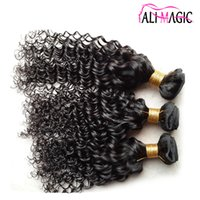 Купить Индийский Трикотаж-7A Remy Human Hair Kinky Curly Weave Virgin Brazilian Hair Jerry Curl Weaves Natural Color Unprocessed Hair Indian 100g / bundle Full Head 3ps