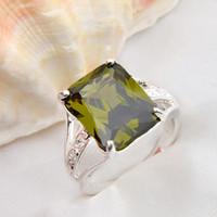 Wholesale Peridot 925 Ring - 925 silver peridot gemstone rings #6.5 #7 #8 #9 R0076