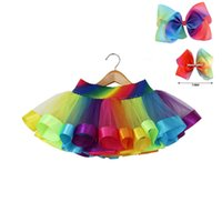 "Wholesale Tutu For Hair - 2017 Baby Boutique Rainbow Tutu Clothing Soft Lace Waist Dresses For Girls With 8"" Hair Bow Summer Girl Clothes"