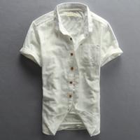Wholesale Mens Linen Shirts - Wholesale- Mens Short Sleeve Shirts Cotton Linen Slim Turn-down Collar Men Brand Clothing Plus Size M-4XL Camisa Masculina