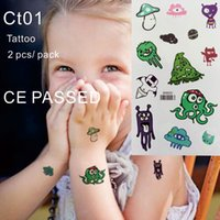 Wholesale Sticker Little Feet - CT01 2 pcs pack Children Temporary Tattoo Non toxic and with CE certificate Octopus Mushroom little Monster Body Tattoos Sticker