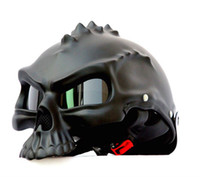 Wholesale Motorcycle Helmets Half Face - Masei 14 color 489 Dual Use Skull Motorcycle Helmet Capacete Casco Novelty Retro Casque Motorbike Bike Half Open Face Helmet