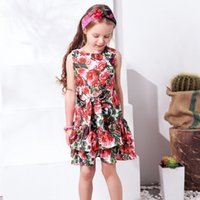 Wholesale Dress Flower Casual - W.L.MONSOON Girls Flower Dress 2017 Brand Princess Dresses for Girls Costume Kids Robe Mariage Enfant Children Dress