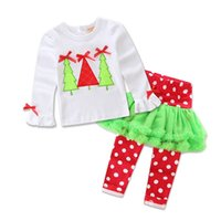 Wholesale Cute Christmas Pajamas For Girls - 7 Patterns Girls Christmas Pajamas Xmas Tree Tee with Polka Dots Pants Set Casual Homewear for Toddlers Customize Label Pajamas Party Theme