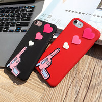Wholesale Sweet Heart Case Iphone - Cell Phone Accessories Cases 2017 Fashion Sweet Beatuiful Heart an Gun For iPhone 6 6s plus 7 7Plus