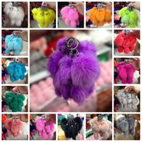 Wholesale 3d ring mouse resale online - 20cm D Mouse Squirrel Keychain with Plush Cute Fox Fur Key Chain for Car Key Ring or Bags Women Gift C134Q
