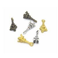 Wholesale Vintage Style European Tower - Wholesale 120pcs 17*7mm four color 3D mini vintage Eiffel Tower charms fit for Pendant European Style DIY jewelry findings crafts CN372