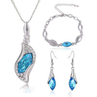 Wholesale Jewelry Peacock Design Necklace - Austria Crystal Rhinestone Jewelry Set Water Drop Design Stylish Necklace Earrings Bracelet jewelry sets fashion wedding necklace Trend