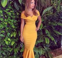 sexy gelb tee länge kleid großhandel-Sexy Schulterfrei Meerjungfrau Abendkleider Rüschen Satin Tee Länge Celebrity Kleider Senfgelb Abend Party Kleider Reißverschluss