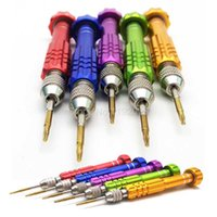Wholesale Disassembly Repairing Tool - Colorful Professional Aluminum Alloy Disassembly 5 in 1 Repair Open Tool Screwdrivers Set Tools Kit Precision Screws For Mobile Phone