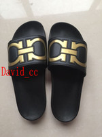 Wholesale Gold Sandals Flats - new arrival 2017 mens fashion causal rubber sandals Gancini brand black gold slide sandals summer outdoor beach slippers 40-45