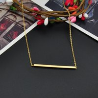 Wholesale Sideways Bar - Hot Fashion Jewelry Pendant Necklace Gold Silver Rose Stainless Steel Tiny Sideways Square The Bar Necklace Simple Stick Necklace