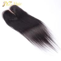 средние перуанские прямые волосы оптовых-JYZ 100% Перуанский шнурок для волос с капюшоном для волос высшего качества 4 * 4 Средний, три, свободные части Отбеленные узлы Прямое кружевное закрытие