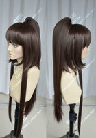 Venda por atacado grátis Moda Loli Cosplay Party Wig GODSEATER Dark Brown Clip Ponytail Full Wig Hair