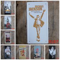 Wholesale Beach Bar Signs - Michael Jackson Metal Tin Sign London Bus License Plate Tin Poster Beach Bar 30X15 CM Iron Painting Hot Sale 3 99rjv