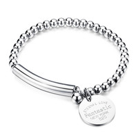 Wholesale Nickel Plated Steel - Fashion famous brands jewelry high quality nickel free stainless steel bead bracelets best christmas gifts for women