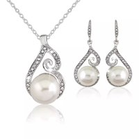 Wholesale Pearl Crystal Necklace Set - New AAA Cz Crystal Pearl Necklace Earrings sets Fashion Party Wedding Platinum Silver Plated Women Jewelry Sets