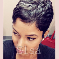Wholesale Celebrities Human Full Lace Wigs - None lace celebrity wig Machine made human short wig glueless full lace wigs brazilian hair straight fashionable hair wig