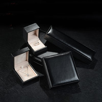 Wholesale Leather Pendant Box - Luxury Black Ring Box Engagement pu Leather Jewelry Gift Packaging Boxes for Jewelry Set Earring Pendant Necklace Bracelet