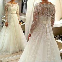 Wholesale wedding dress sleeves lace belt for sale - Group buy Plus Size Custom Full Lace Wedding Dresses Bateau Sheer Neck Lace Appliques Long Sleeves Wedding Bridal Gown With Beaded Belt Sweep Train