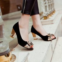 Wholesale Elegant Heels - Wholesale-fashion elegant open toe women shoes high heels square Slip-On cozy women's sandals summer shoes women mujer plus size 43