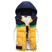 Wholesale Hooded Vests For Women - Wholesale- New arrival Autumn 2016 Winter Cotton Padded jackets for men and Women patched Fashion Hooded Vest men Cotton Vest for lovers