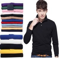 Wholesale Green Shirts For Men - 2017 Summer New Arrival Long Sleeve Shirt Men Fashion Brand Polo Shirts For Men Small Horse Embroidery jerseys Cotton Casual Slim Fit Tops