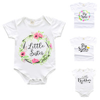 Wholesale Little Girls Shirts Wholesale - Sister Brother Clothing Little Baby Rompers Jumpsuits Summer Boys Girls T-shirt Letters Floral Printed Tops Tee Family Matching Outfits 141