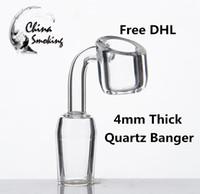 dab rigs dhl venda por atacado-DHL 4mm Quartz Banger prego de quartzo Domeless 14mm 18mm 10mm masculino feminino oil rig dab bongo de vidro