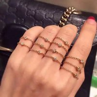 Wholesale Wholesale Diamond Chains For Sale - 316L Titanium steel lovers Band Rings with one diamond and chain in 5#-8# size for Women and Men wedding jewelry Hot Sale free shipping