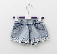 Wholesale Jeans Lace Hot Short - Girl summer denim trousers Children Pants for girls Jeans Shorts Girl Lace Shorts Kid's Jeans Hot Pants with laces ripped beach