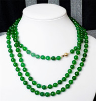 AAA Encantador 8mm Natural Verde Jade Round Gem Bead Necklace 50 '' 14K Gold Clasp