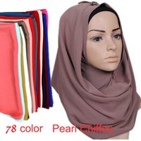 Wholesale Pashmina Shawls Plain Color - 78 Colors Muslim Women Hijab Scarves 2018 Selling High-quality Solid Color Ethnic Pearl Chiffon Bubble Scarf Hot