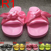 Wholesale ladies rubber bags online - New Rihanna Leadcat X Fenty Bandana Slide Womens Bow Slippers Indoor Ladies Fashion Sandals With Dust Bags Size Eur