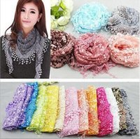 Wholesale Lace Chiffon Scarf Wholesale - Fashion Infinity Scarves Chiffon Lace Multi 20 Colors Floral Print Wraps DHL Free Shipping Hot Sale
