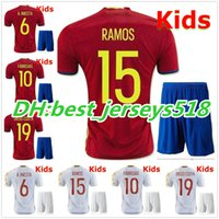 Soccer spanish jersey - best quality Spain kids Jerseys ISCO SILVA A INIESTA Soccer Jersey shirt kits Children Spanish youth MORATA football Kit