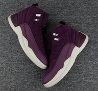 Wholesale high school shoes - High Quality 12 12s Bordeaux Men Basketball Shoes Public School PSNY x 12s Wine Red Purple White Sneakers With Shoes Box