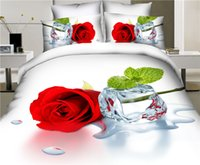 Wholesale Green White Flowered Quilt - Wholesale-New 3D bedding set animals,flower and Paris night ,bed linen,bedding-set,family set 4pcs quilt bed sheet pillowcases queen size