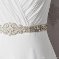 Wholesale evening dress bridal accessories - New Wedding Accessories Belt Fashion Handmade Crystal Rhinestone Bead Ribbon Wedding Belt Bridal Sash For Evening Dress Party Dress CPA532
