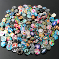 18mm Snap Button Jewelry 50 Pcs / Lot Mix Styles Atacado Glass Snap Button Charms Fit Braceletes Colares Cadeias Mulheres Vintage Jóias
