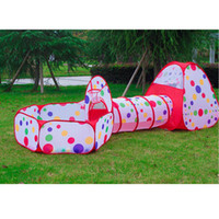 Wholesale Tunnel Tent For Kids - 3pcs set Foldable Kids Toddler Tunnel Pop Up Play Tent Toys For Children Indoor Outdoor Playhouse Kids Play Gaming Toys