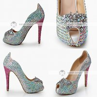 Wholesale Bridal Lace Shoes Ladies - Fashion Rhinestone Crystal Wedding Dress Shoes Open Peep Toe Stiletto Pumps Heels 12cm for Lady Prom Party Evening Bridal Accessories 2017