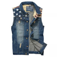 Wholesale Mens Denim American Flag Jacket - Wholesale- 2015 New fashion Mens Denim Vest Jeans Vest for Men Cowboy Vest Sleeveless Denim American flag printed Star Jacket Denim Coat