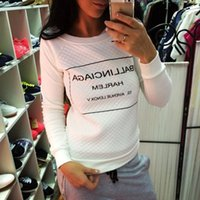 Wholesale Women S Sweatshirts Wholesale - Wholesale- Moleton Feminino White Black fashion Women Hoody Spring Autumn Long Sleeve Casual Sweatshirts Women Letter Print Hoodies S-XL