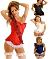 Wholesale Bone Corsets Rose - New Style Steel Boned Rose Single Shoulder Corselet Waist Cincher Gothic Corsets And Bustiers Lace Pattern Sexy Lingerie Women Corset 2351