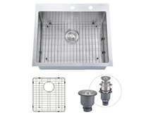 "Wholesale Sinks Bowls - [From USA] 25""x22"" Inch Overmount Stainless Steel Handcrafted Kitchen Sink With Bottom Grid, 16-Ga Single Bowl With 2 Faucet Holes Topmount"