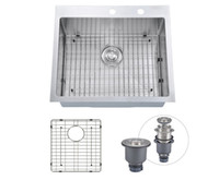 Brushed overmount sink - From USA quot x22 quot Inch Overmount Stainless Steel Handcrafted Kitchen Sink With Bottom Grid Ga Single Bowl With Faucet Holes Topmount