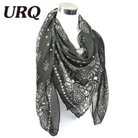 Wholesale Hijab Paisley - Wholesale-large square Paisley Scarf Women's Bandana scarves and shawls women Viscose Hijab Scarves&Wrapsbrand stoles scarf for women 437