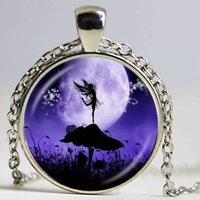 Wholesale Necklace Full Moon - Angel Fairy Silhouette Necklace Snail,Mushroom,Photo Pendant Full Moon Jewelry Glass Dome Pendant Fashion Accessories Jewellery