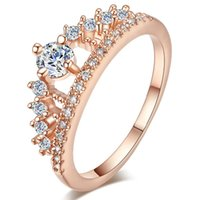 Wholesale TUKER Engagement Party Ring New Fashion Crystal Rhinestone Crown Rings For Women Cute Elegant Luxury Sliver Plated Party
